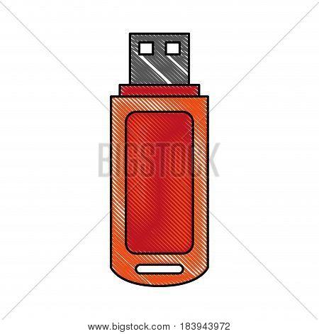 color blurred stripe usb pc flash drive vector illustration