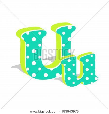 Capital and numeric cute dotted 3d letter U isolated on white background. Vector illustration. Element for design. Kids alphabet.