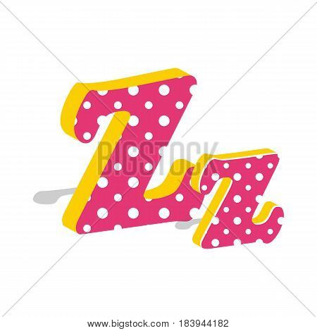Capital and numeric cute dotted 3d letter Z isolated on white background. Vector illustration. Element for design. Kids alphabet.