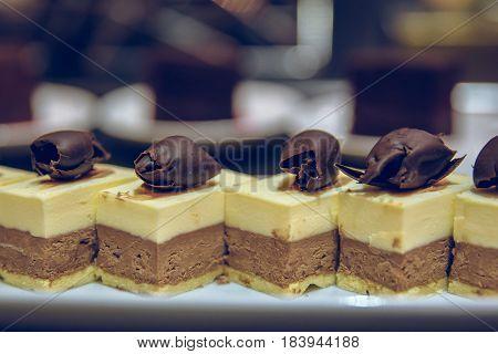 selective focus on chocolate cheesecake desert background.