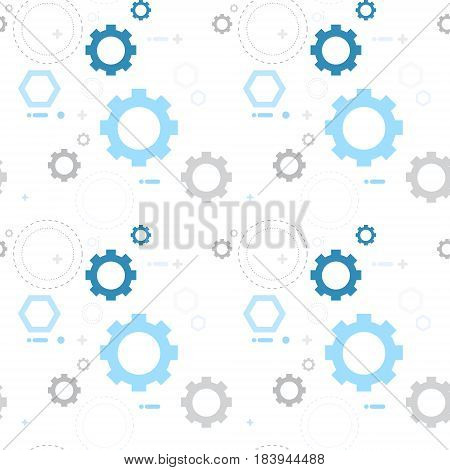 Cog Wheel Gear Seamless Pattern Vector Illustration