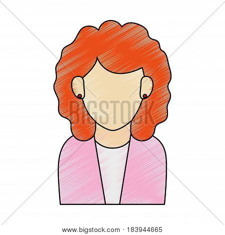 color pencil half body faceless woman executive with curly hair vector illustration