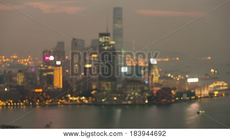 Night blurred bokeh Hong Kong city downtown aerial view abstract background