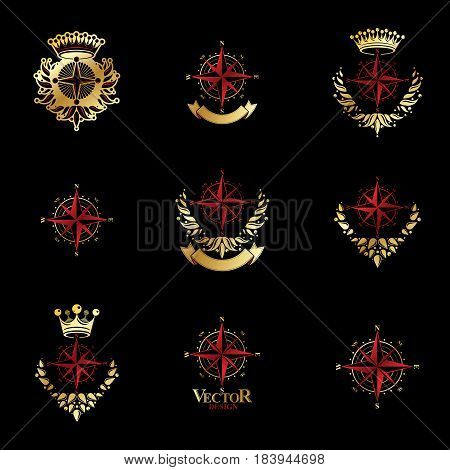 Compasses emblems set. Heraldic vector design elements collection. Retro style label heraldry logo.
