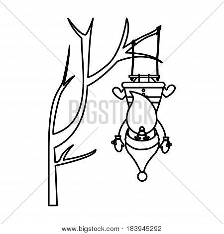 monochrome contour caricature of santa claus in tree pendant of swing vector illustration