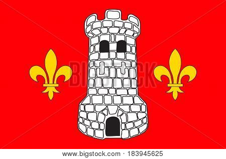 Flag of Epinal is a commune in northeastern France and the capital of the Vosges department. Vector illustration