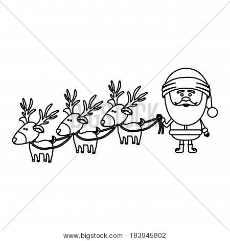 monochrome contour caricatures of three reindeers and santa claus vector illustration