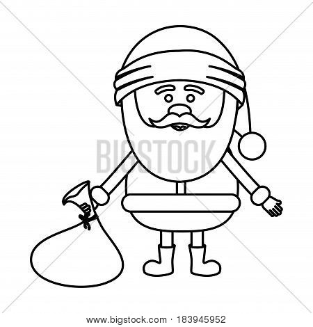 monochrome contour of santa claus with gift bag on floor vector illustration
