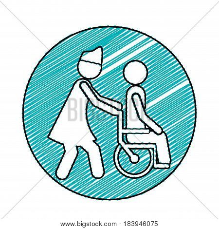 color pencil drawing circular frame with nurse helping another person push a wheelchair vector illustration