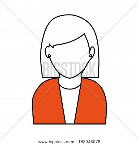 sketch color silhouette faceless half body woman with short straight hair vector illustration