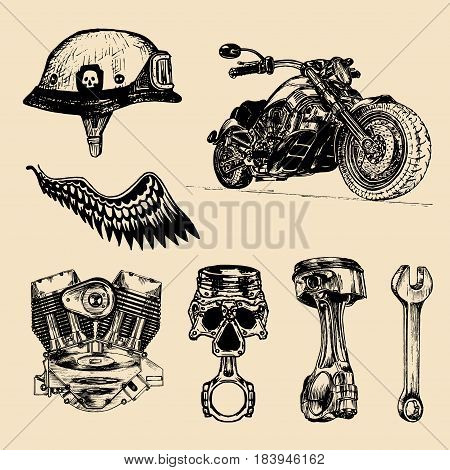 Vector set of vintage bikers elements. Hand sketched chopper signs collection for logo, label, poster etc. Detailed custom motorcycle illustration.