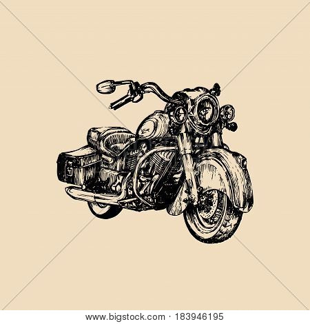 Vector hand drawn cruiser for MC, biker logo, label. Vintage detailed motorcycle illustration for custom chopper store, garage logo , t-shirt print etc.