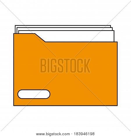 sketch color silhouette folder with documents inside vector illustration
