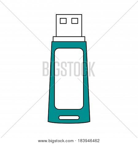 sketch color silhouette usb pc flash drive vector illustration