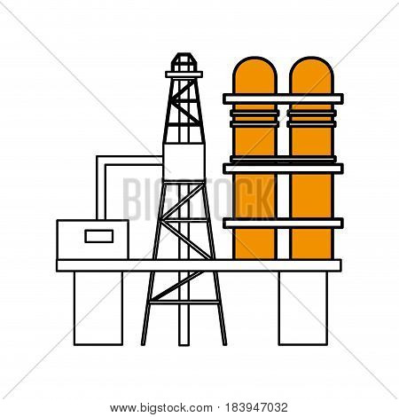sketch color silhouette industry refinery of petroleum vector illustration