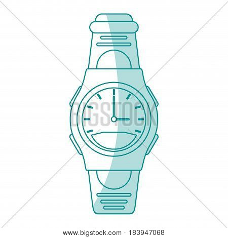 blue silhouette shading sport male wristwatch vector illustration