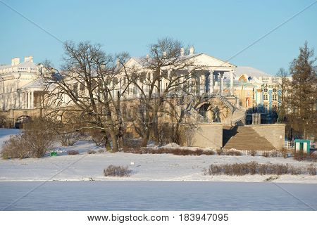 View of the old Cameron Gallery in the November sunny snowy day. Tsarskoye Selo, St. Petersburg