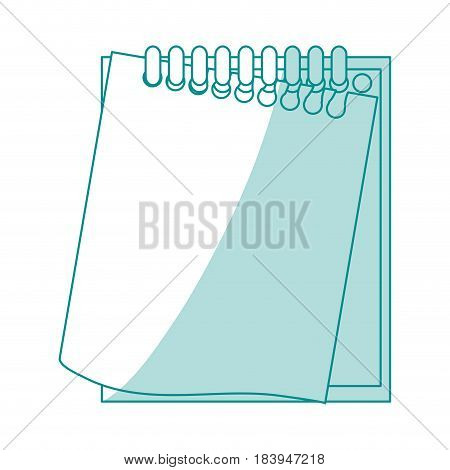blue silhouette shading notebook spiral with sheets semi ripped vector illustration