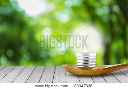 IdeasLight bulb that shines on the ladle with nature background concept environmental protection save energy earth day