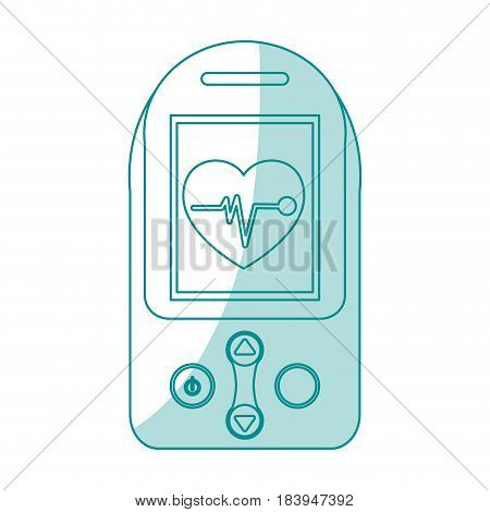 blue silhouette shading tech generic gps device with heart monitoring vector illustration