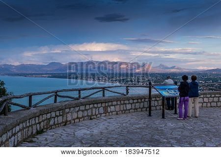 Panoramic View Of Castellamare Del Golfo In Sicily From The Terrace