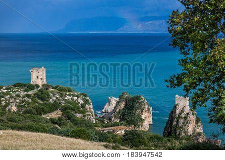 Faraglioni And Beautiful Sea At Scopello, Sicily, Italy