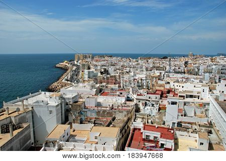 CADIZ, SPAIN - SPETMEBER 8, 2008 - Elevated view of the city rooftops looking West from the Cathedral Bell tower Cadiz Cadiz Province Andalusia Spain Western Europe, September 8, 2008.