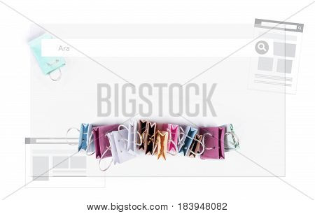 Ara (Search) in Turkish language. E-commerce online shopping concept. Miniature of reusable grocery bags.