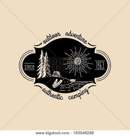 Vector camp logo. Tourism sign with hand drawn lake shore landscape. Retro hipster emblem, badge, label of outdoor adventures.