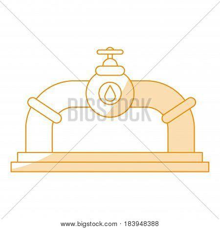 orange silhouette shading valve oil view front with petroleum drop symbol vector illustration
