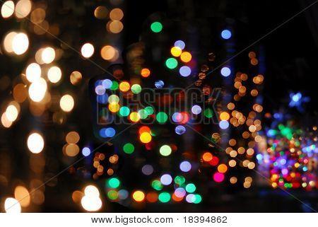 bunte Bokeh der Weihnachtsbeleuchtung