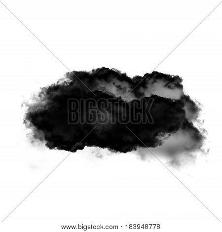 Cloud shape isolated over white background 3D realistic illustration single cloud 3D rendering. Realistic clouds