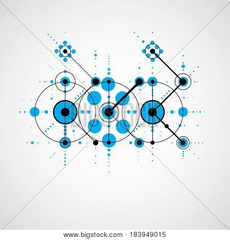 Vector Bauhaus blue abstract background made with grid and overlapping simple geometric elements circles and lines. Retro style artwork graphic template for advertising poster.