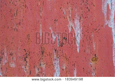 Rusted Painted Metal Wall Corrosion With Streaks Of Rust
