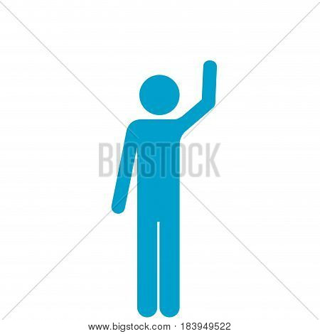 blue silhouette of pictogram man with left arm raised vector illustration
