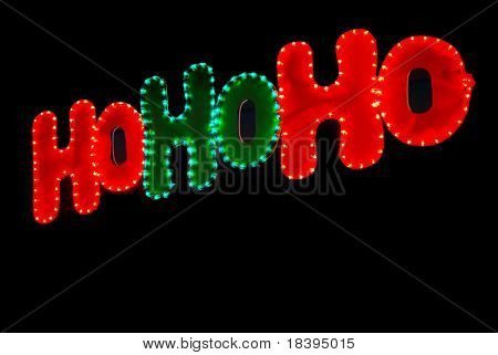 'Hohoho' christmas lights in green and red on black background