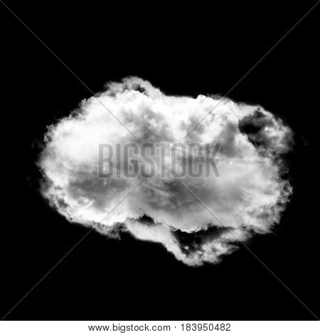 Complex cloud shape isolated over black solid background 3D rendering illustration realistic smoke or cloud shape