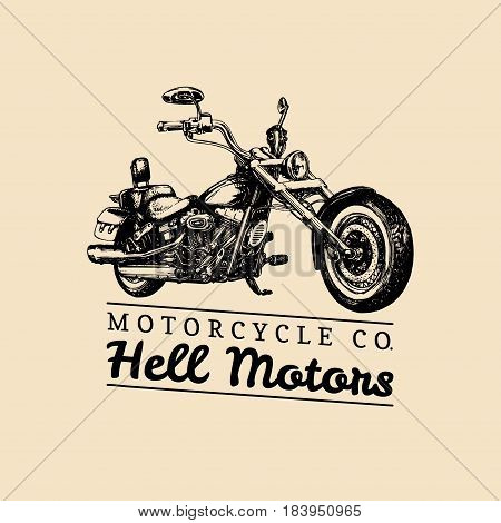 Hell Motors advertising poster. Vector hand drawn chopper for MC sign, label. Vintage detailed motorcycle illustration for custom biker company, garage logo.