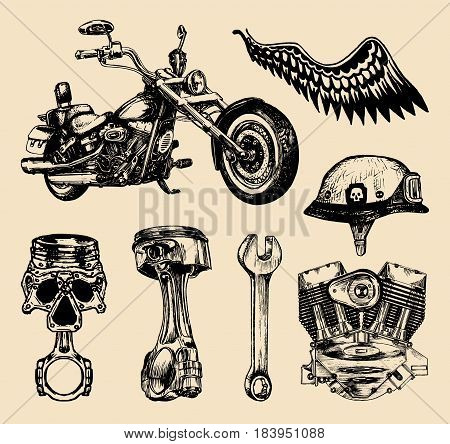 Vector set of vintage bikers elements.Hand sketched motorcyclist symbols collection with custom chopper for store logo, MC sign, garage label.