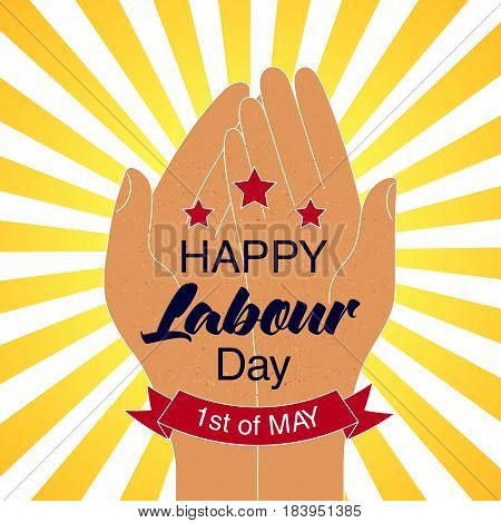 Happy Labour Day Card With Stars And Red Ribbon.