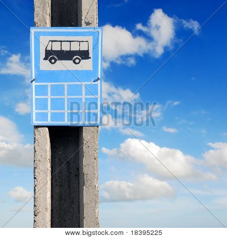 Traffic sign for a busstop used in Cuba against blue sky background
