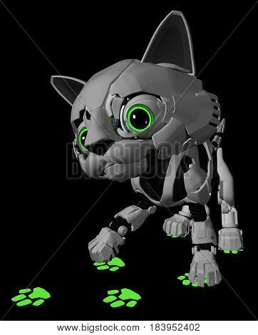 Robotic kitten glowing paw print 3d illustration vertical dark background