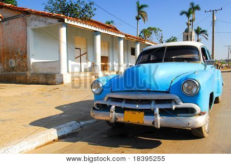 Vintage blue oldtimer car in the streets of Vinales, Cuba