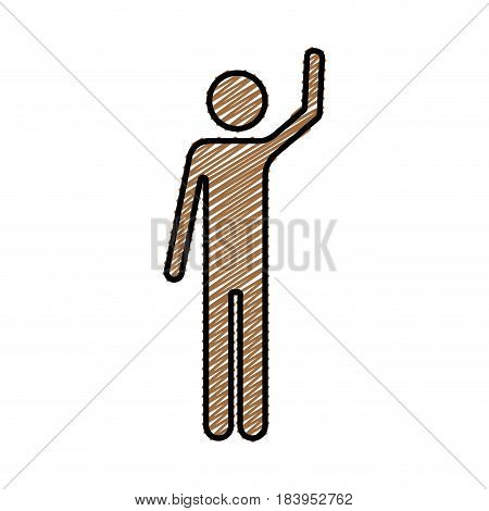 color pencil drawing silhouette of pictogram man with left arm raised vector illustration
