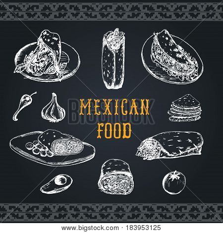 Mexican food menu in vector. Burritos, nachos, tacos illustrations. Vintage hand drawn american quick meals collection. Hipster snack bar, fast-food restaurant icons.