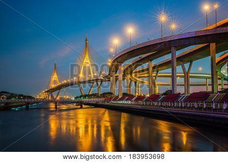 Rama nine bridge (rama 9 bridge) pavilion and park Bangkok Thailand