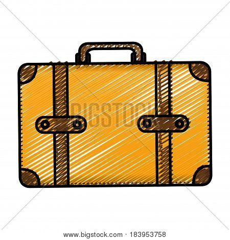 color pencil drawing silhouette with leather suitcase vector illustration
