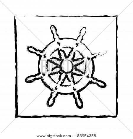 monochrome blurred silhouette of frame with boat helm vector illustration