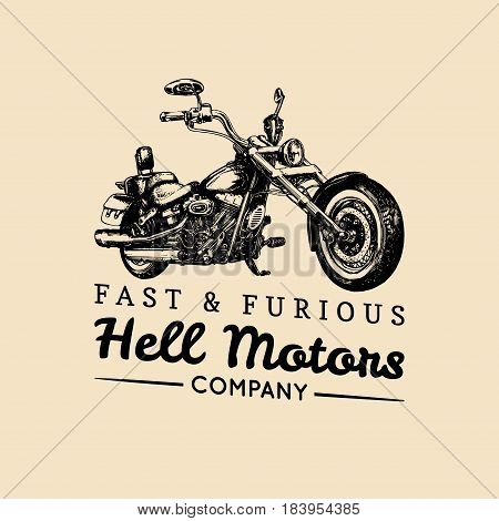 Fast And Furious advertising poster. Vector hand drawn motorcycle in ink style. Vintage detailed chopper illustration for custom company, biker store, MC sign, garage label, logo.