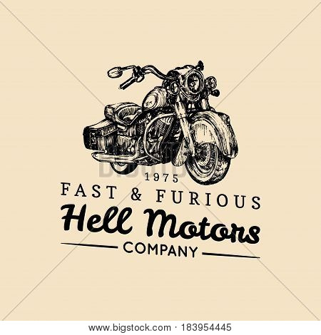 Fast And Furious advertising poster. Vector hand drawn motorcycle in ink style. Vintage detailed cruiser illustration for custom company, chopper store, MC sign, garage label, biker logo.